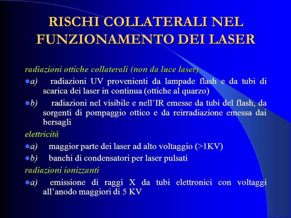 RISCHI COLLATERALI NEL FUNZIONAMENTO DEI LASER radiazioni ottiche collaterali (non da luce laser) a) radiazioni UV provenienti da lampade flash e da t