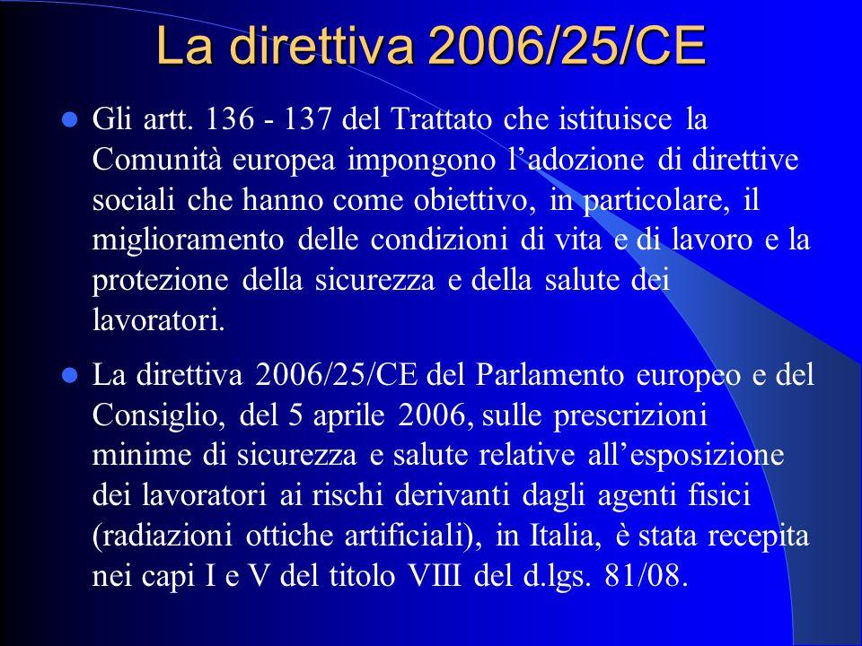 La direttiva 2006/25/CE Gli artt. 136 - 137 del Trattato che istituisce la Comunità europea impongono l'adozione di direttive sociali che hanno come o