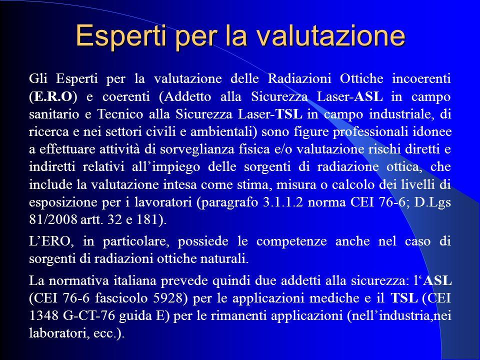 Esperti per la valutazione Gli Esperti per la valutazione delle Radiazioni Ottiche incoerenti (E.R.O) e coerenti (Addetto alla Sicurezza Laser-ASL in