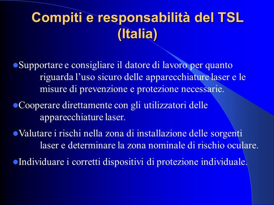 Compiti e responsabilità del TSL (Italia) Supportare e consigliare il datore di lavoro per quanto riguarda l'uso sicuro delle apparecchiature laser e