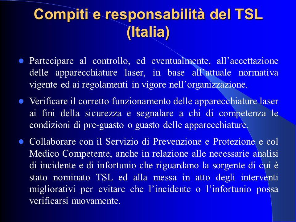 Compiti e responsabilità del TSL (Italia) Partecipare al controllo, ed eventualmente, all'accettazione delle apparecchiature laser, in base all'attual