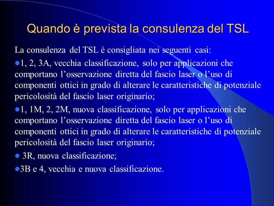 Quando è prevista la consulenza del TSL La consulenza del TSL è consigliata nei seguenti casi: 1, 2, 3A, vecchia classificazione, solo per applicazion