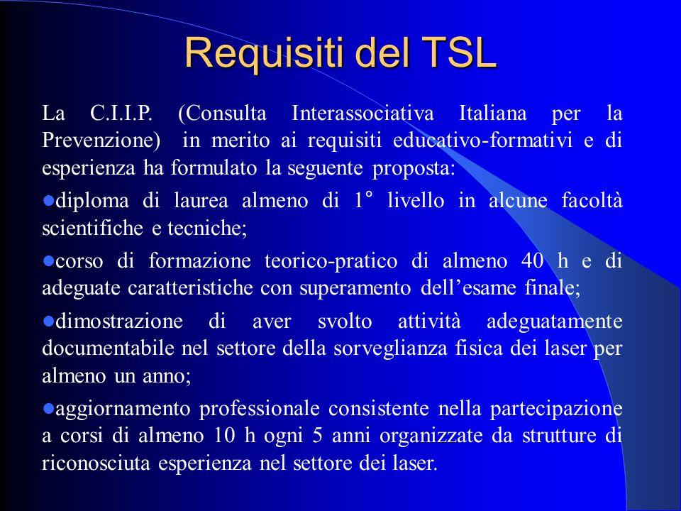 Requisiti del TSL La C.I.I.P. (Consulta Interassociativa Italiana per la Prevenzione) in merito ai requisiti educativo-formativi e di esperienza ha fo