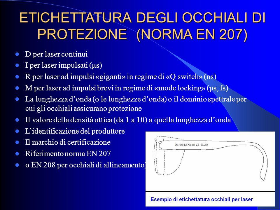 ETICHETTATURA DEGLI OCCHIALI DI PROTEZIONE (NORMA EN 207) D per laser continui I per laser impulsati (μs) R per laser ad impulsi «giganti» in regime d