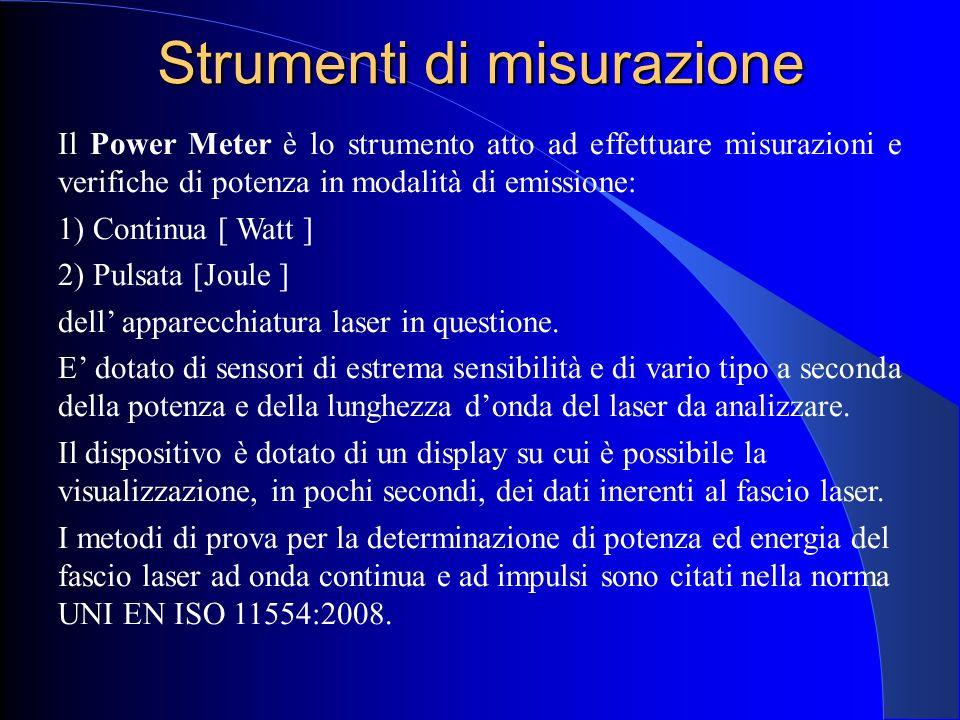 Strumenti di misurazione Il Power Meter è lo strumento atto ad effettuare misurazioni e verifiche di potenza in modalità di emissione: 1) Continua [ W