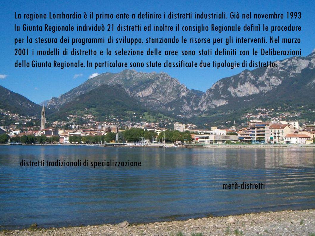 La regione Lombardia è il primo ente a definire i distretti industriali.