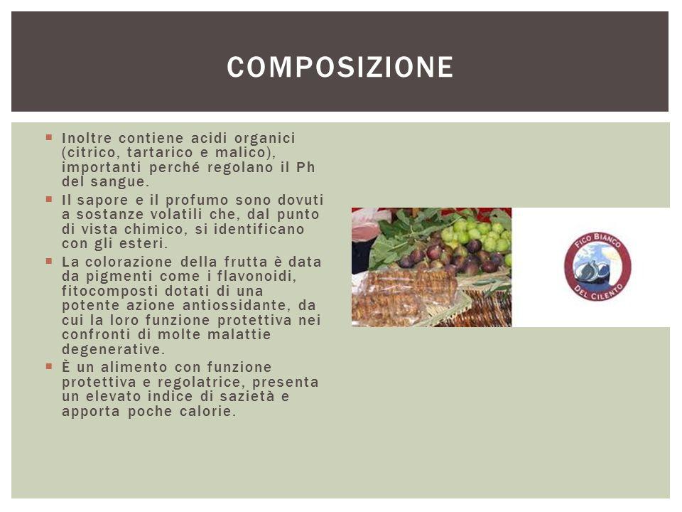  Inoltre contiene acidi organici (citrico, tartarico e malico), importanti perché regolano il Ph del sangue.  Il sapore e il profumo sono dovuti a s