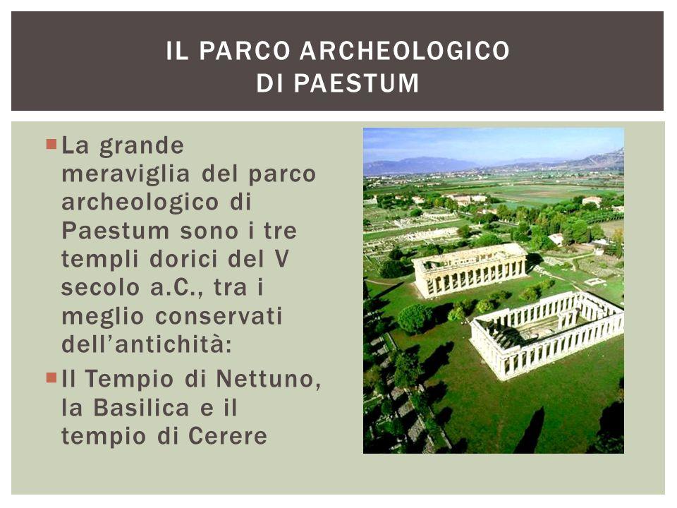  La grande meraviglia del parco archeologico di Paestum sono i tre templi dorici del V secolo a.C., tra i meglio conservati dell'antichità:  Il Temp