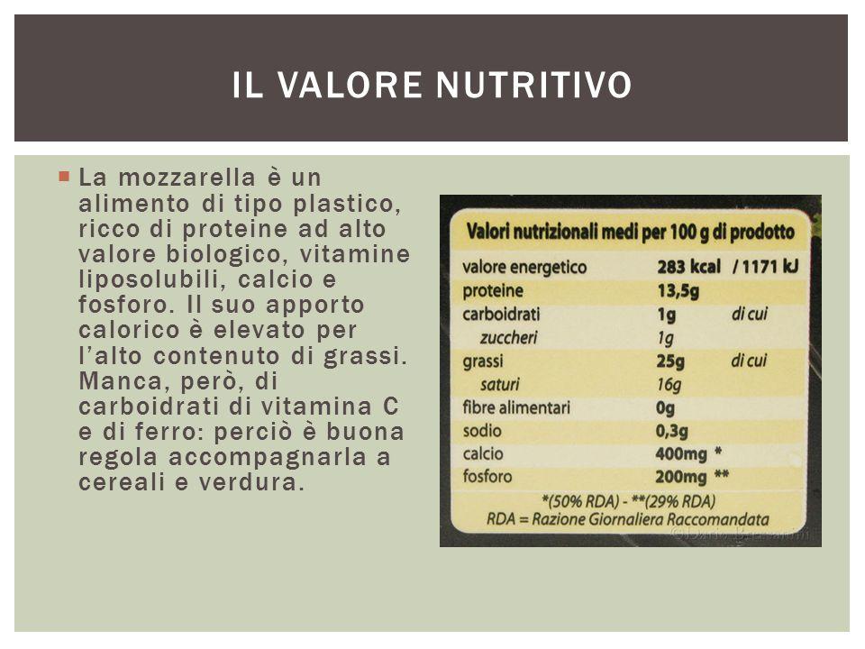 La mozzarella è un alimento di tipo plastico, ricco di proteine ad alto valore biologico, vitamine liposolubili, calcio e fosforo. Il suo apporto ca