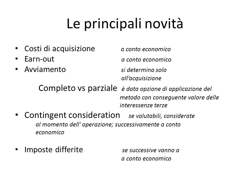 Le principali novità Costi di acquisizione a conto economico Earn-out a conto economico Avviamento si determina solo all'acquisizione Completo vs parz