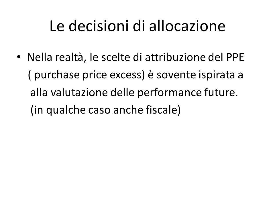 Le decisioni di allocazione Nella realtà, le scelte di attribuzione del PPE ( purchase price excess) è sovente ispirata a alla valutazione delle perfo