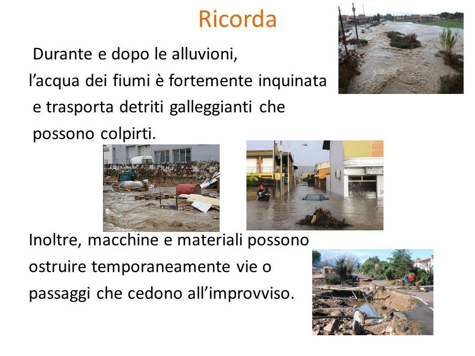 Ricorda Durante e dopo le alluvioni, l'acqua dei fiumi è fortemente inquinata e trasporta detriti galleggianti che possono colpirti. Inoltre, macchine