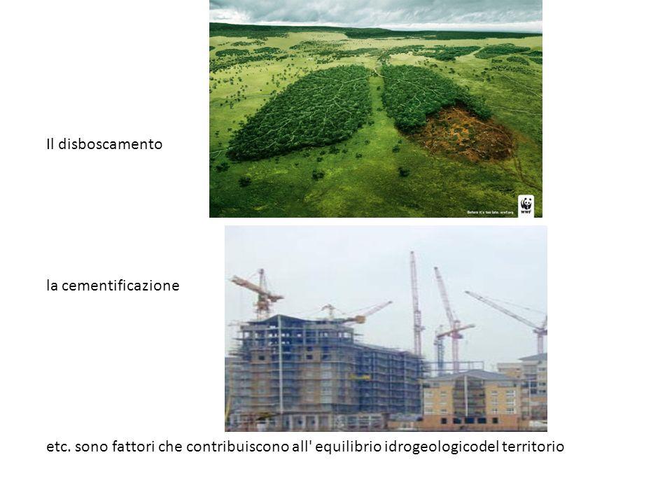 Il disboscamento la cementificazione etc. sono fattori che contribuiscono all' equilibrio idrogeologicodel territorio