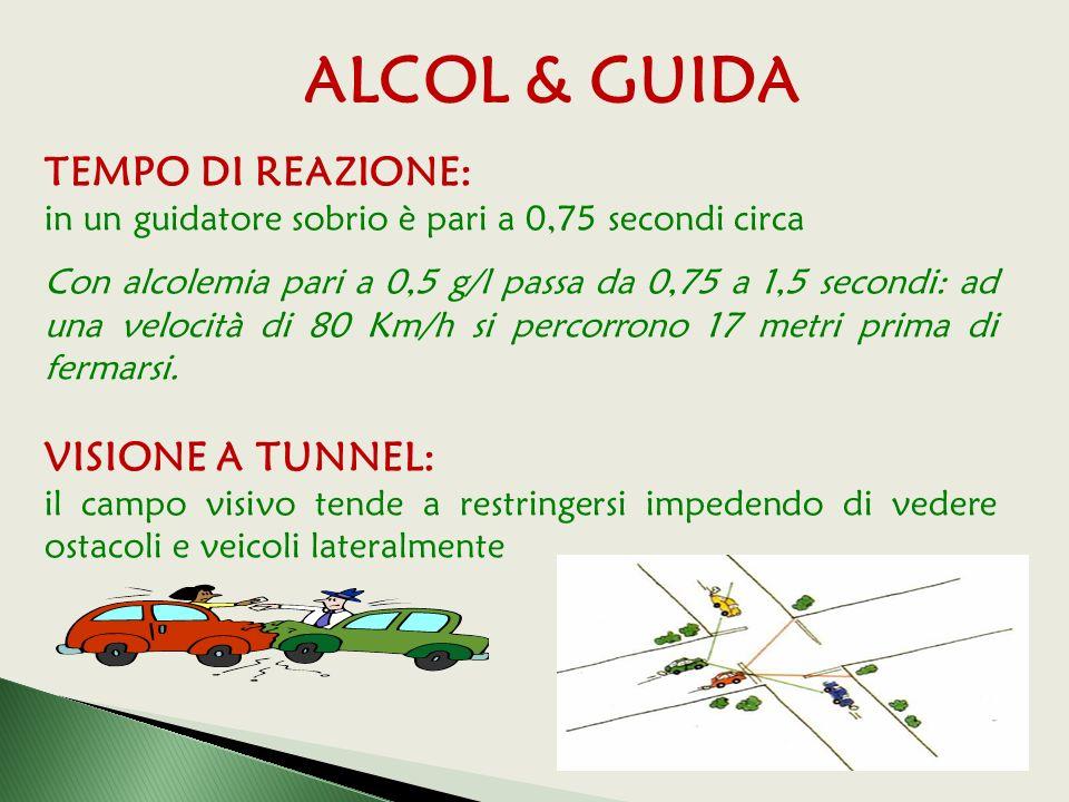 TEMPO DI REAZIONE: in un guidatore sobrio è pari a 0,75 secondi circa Con alcolemia pari a 0,5 g/l passa da 0,75 a 1,5 secondi: ad una velocità di 80 Km/h si percorrono 17 metri prima di fermarsi.