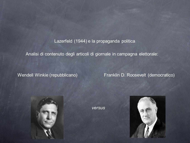 Lazerfeld (1944) e la propaganda politica Analisi di contenuto degli articoli di giornale in campagna elettorale: Franklin D. Roosevelt (democratico)W