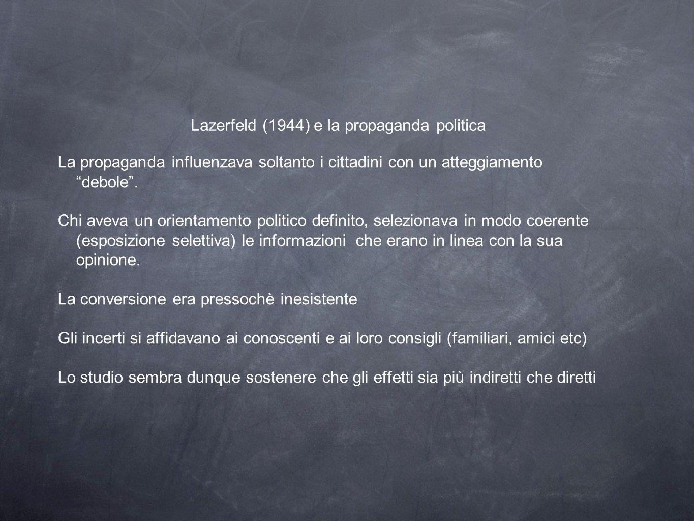 Lazerfeld (1944) e la propaganda politica La propaganda influenzava soltanto i cittadini con un atteggiamento debole .