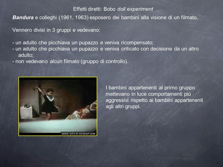 Effetti diretti: Bobo doll experiment Bandura e colleghi (1961, 1963) esposero dei bambini alla visione di un filmato. Vennero divisi in 3 gruppi e ve