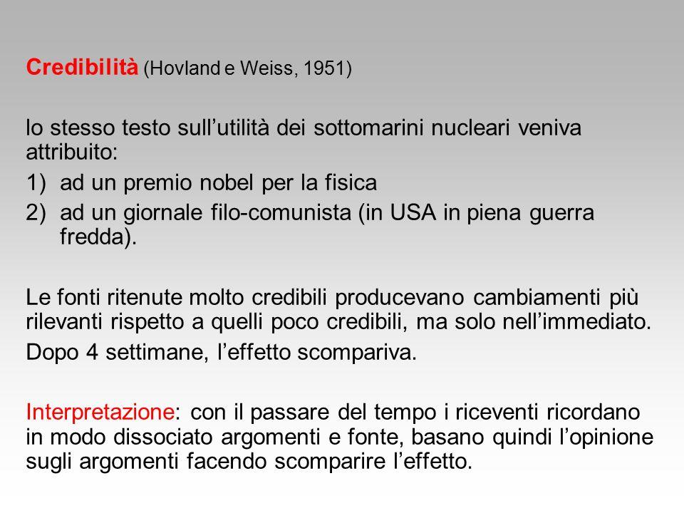 Credibilità (Hovland e Weiss, 1951) lo stesso testo sull'utilità dei sottomarini nucleari veniva attribuito: 1)ad un premio nobel per la fisica 2)ad un giornale filo-comunista (in USA in piena guerra fredda).