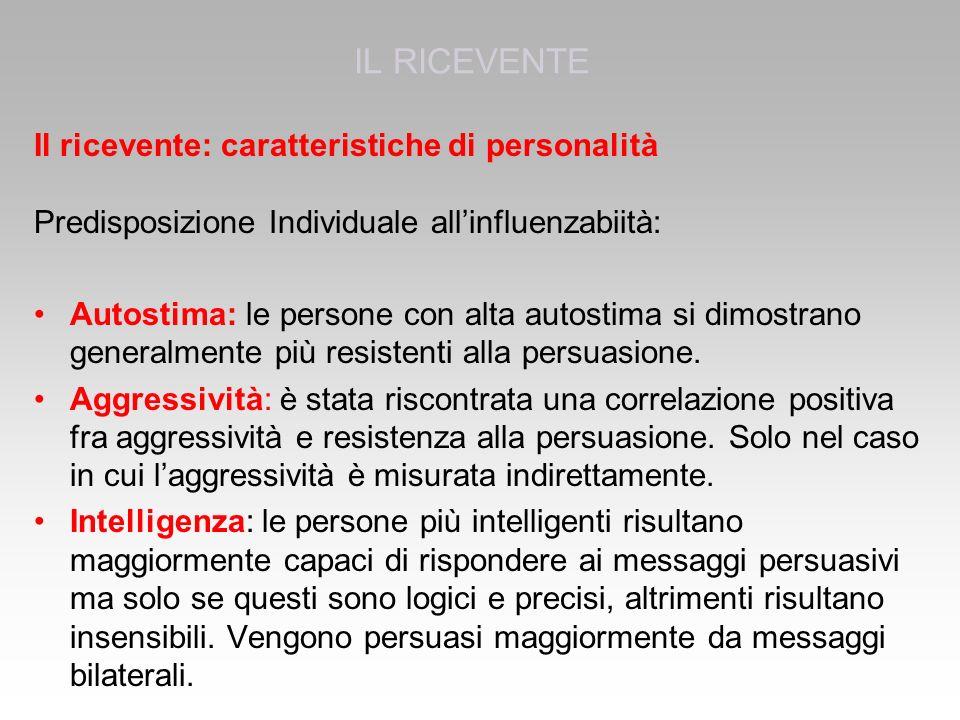 Il ricevente: caratteristiche di personalità Predisposizione Individuale all'influenzabiità: Autostima: le persone con alta autostima si dimostrano generalmente più resistenti alla persuasione.