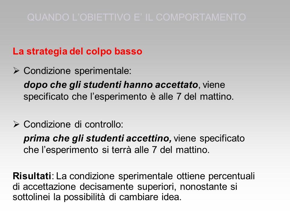  Condizione sperimentale: dopo che gli studenti hanno accettato, viene specificato che l'esperimento è alle 7 del mattino.