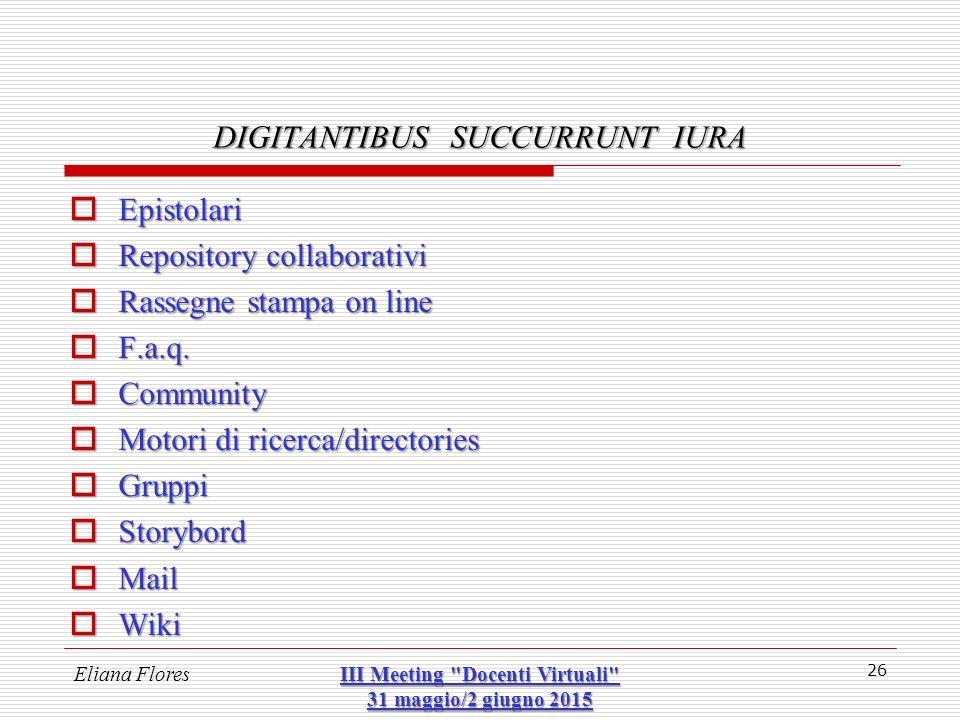  Epistolari  Repository collaborativi  Rassegne stampa on line  F.a.q.  Community  Motori di ricerca/directories  Gruppi  Storybord  Mail  W