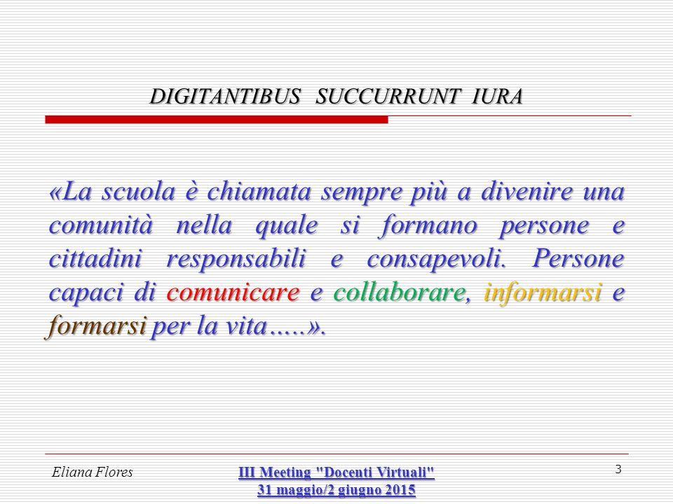 Eliana Flores III Meeting Docenti Virtuali 31 maggio/2 giugno 2015 14 DIGITANTIBUS SUCCURRUNT IURA  SUL WEB.