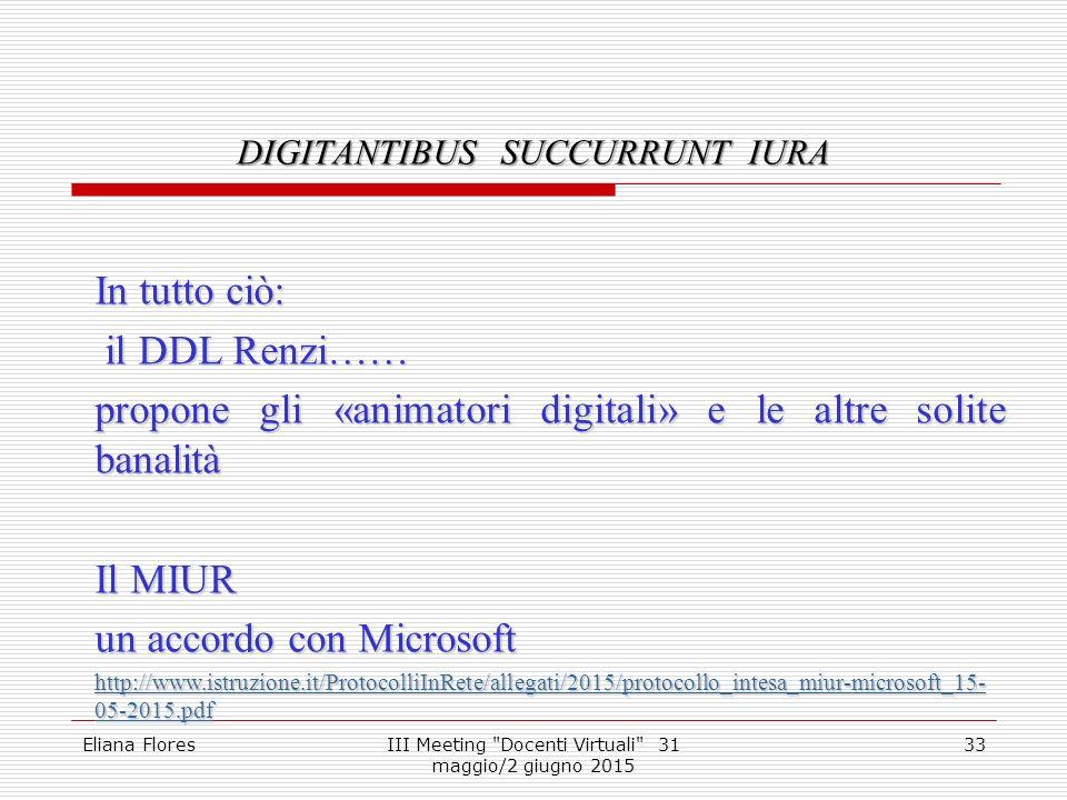 DIGITANTIBUS SUCCURRUNT IURA 33 In tutto ciò: il DDL Renzi…… il DDL Renzi…… propone gli «animatori digitali» e le altre solite banalità Il MIUR un acc