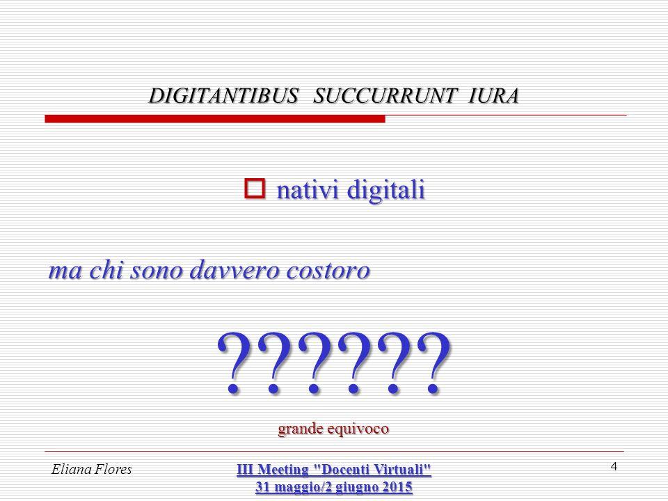Eliana Flores III Meeting Docenti Virtuali 31 maggio/2 giugno 2015 25 DIGITANTIBUS SUCCURRUNT IURA 2 – successione mortis-causa nel patrimonio digitale Cos'è il «patrimonio digitale».