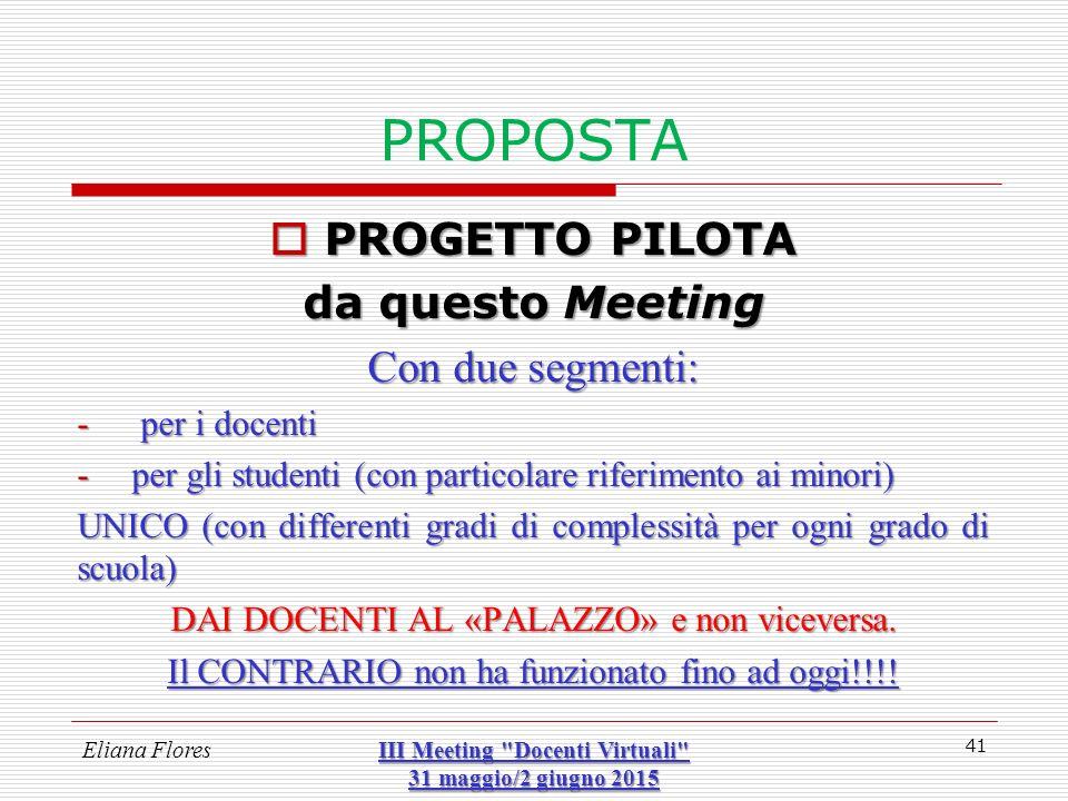 PROPOSTA  PROGETTO PILOTA da questo Meeting Con due segmenti: - per i docenti -per gli studenti (con particolare riferimento ai minori) UNICO (con di