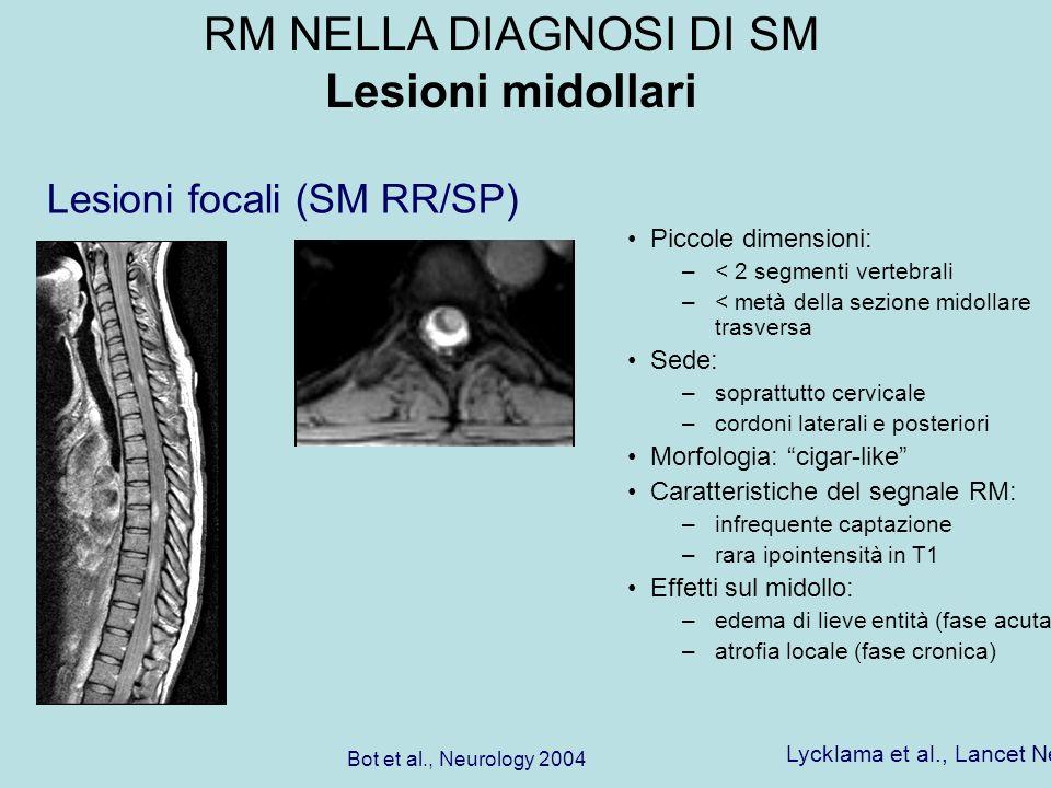 Piccole dimensioni: –< 2 segmenti vertebrali –< metà della sezione midollare trasversa Sede: –soprattutto cervicale –cordoni laterali e posteriori Mor
