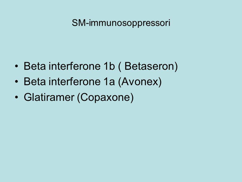 SM-immunosoppressori Beta interferone 1b ( Betaseron) Beta interferone 1a (Avonex) Glatiramer (Copaxone)