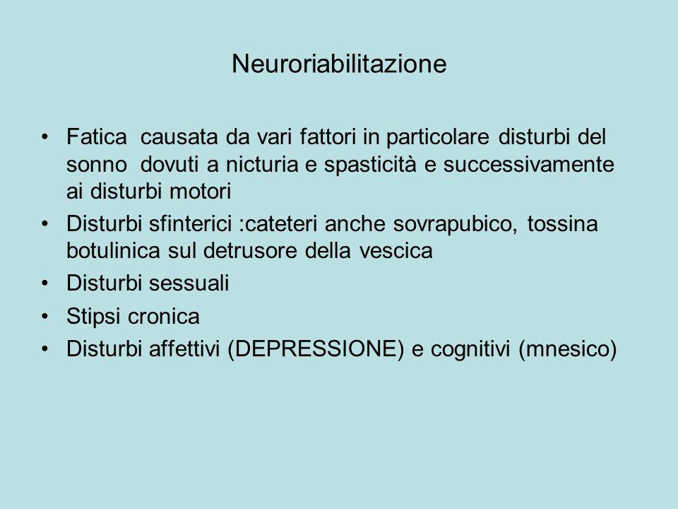 Neuroriabilitazione Fatica causata da vari fattori in particolare disturbi del sonno dovuti a nicturia e spasticità e successivamente ai disturbi moto
