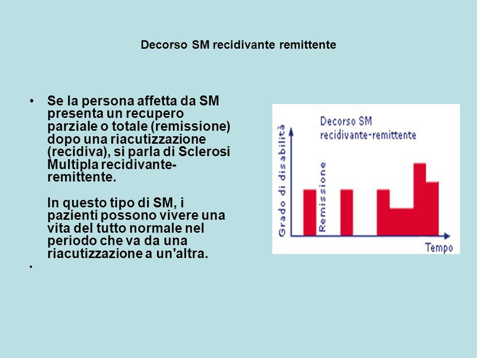 SM secondaria progressiva La SM secondaria progressiva è caratterizzata da un grado di disabilità persistente che progredisce gradualmente nel tempo, con presenza o meno di riacutizzazioni sovrapposte.