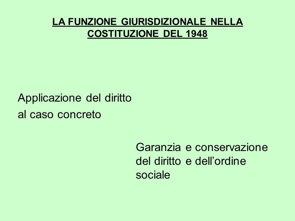 LA FUNZIONE GIURISDIZIONALE NELLA COSTITUZIONE DEL 1948 Applicazione del diritto al caso concreto Garanzia e conservazione del diritto e dell'ordine sociale
