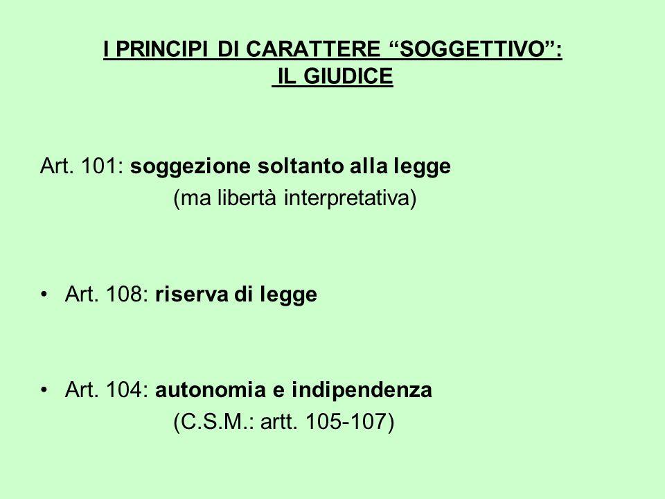 I PRINCIPI DI CARATTERE SOGGETTIVO : IL GIUDICE Art.
