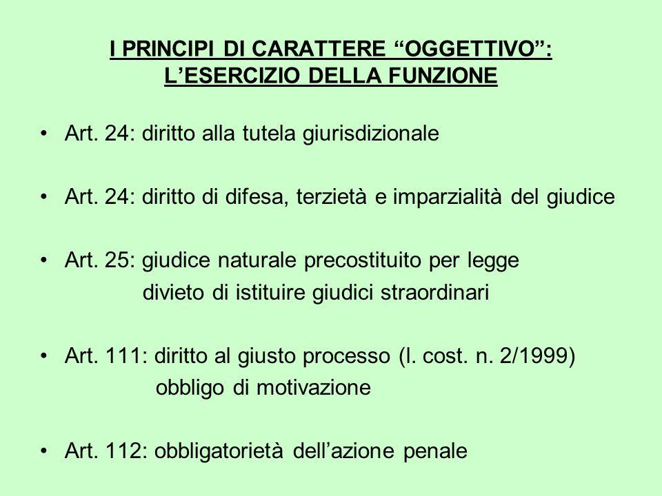 I PRINCIPI DI CARATTERE OGGETTIVO : L'ESERCIZIO DELLA FUNZIONE Art.