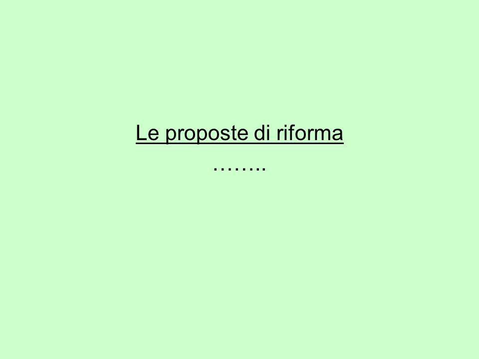 Le proposte di riforma ……..