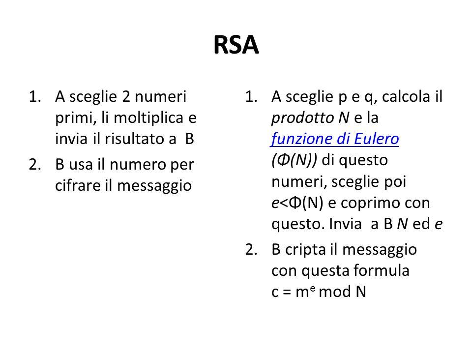 RSA 1.A sceglie 2 numeri primi, li moltiplica e invia il risultato a B 2.B usa il numero per cifrare il messaggio 1.A sceglie p e q, calcola il prodot