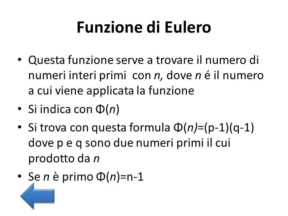 Funzione di Eulero Questa funzione serve a trovare il numero di numeri interi primi con n, dove n é il numero a cui viene applicata la funzione Si ind