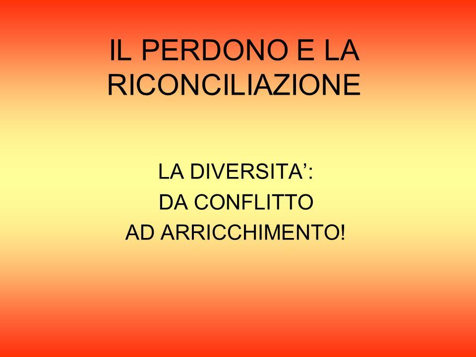 IL PERDONO E LA RICONCILIAZIONE LA DIVERSITA': DA CONFLITTO AD ARRICCHIMENTO!