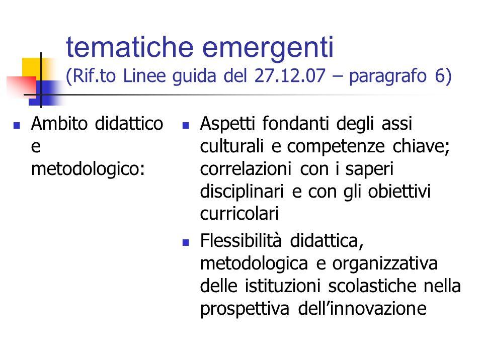 tematiche emergenti (Rif.to Linee guida del 27.12.07 – paragrafo 6) Obiettivi del percorso: Approfondimento dei contenuti e degli aspetti dell'innova