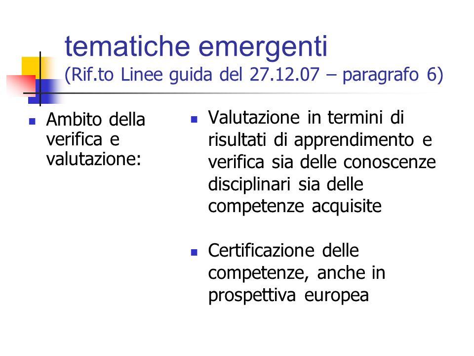 tematiche emergenti (Rif.to Linee guida del 27.12.07 – paragrafo 6) Ambito didattico e metodologico: Aspetti fondanti degli assi culturali e competen