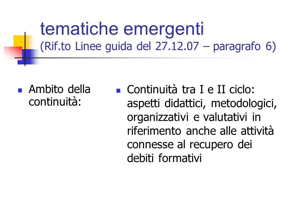 tematiche emergenti (Rif.to Linee guida del 27.12.07 – paragrafo 6) Ambito della verifica e valutazione: Valutazione in termini di risultati di appre