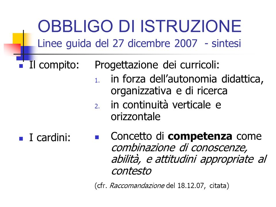OBBLIGO DI ISTRUZIONE Linee guida del 27 dicembre 2007 - sintesi Il compito: I cardini: Progettazione dei curricoli: 1.