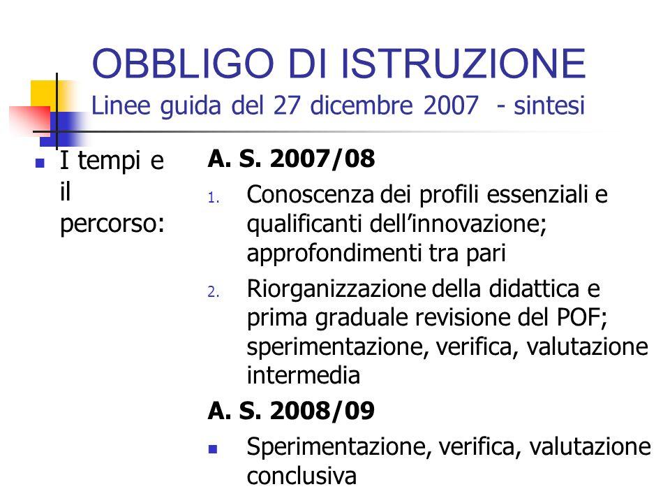 OBBLIGO DI ISTRUZIONE Linee guida del 27 dicembre 2007 - sintesi I cardini: Centralità del giovane Valutazione continua e verifica dei risultati di ap