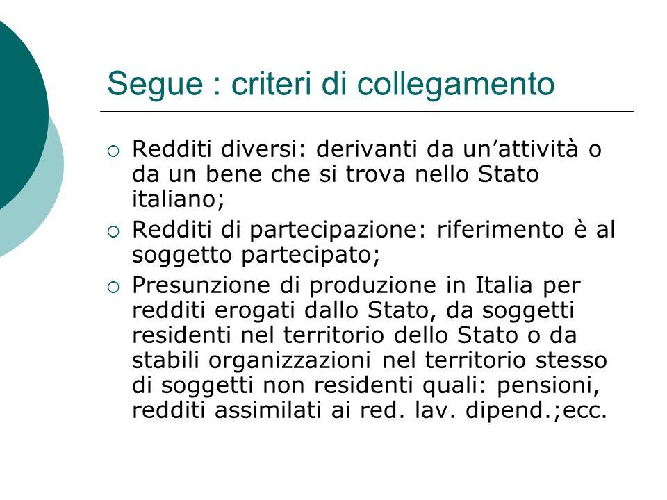 Segue : criteri di collegamento  Redditi diversi: derivanti da un'attività o da un bene che si trova nello Stato italiano;  Redditi di partecipazion
