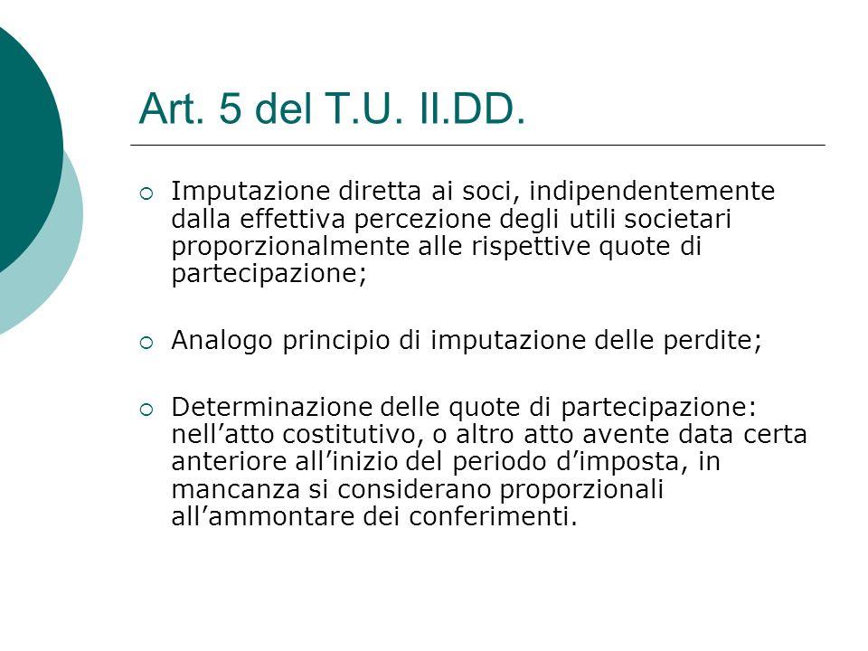 Art. 5 del T.U. II.DD.  Imputazione diretta ai soci, indipendentemente dalla effettiva percezione degli utili societari proporzionalmente alle rispet