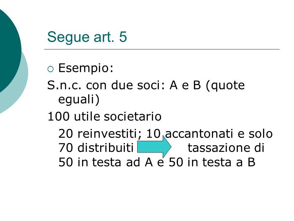 Segue art. 5  Esempio: S.n.c. con due soci: A e B (quote eguali) 100 utile societario 20 reinvestiti; 10 accantonati e solo 70 distribuiti tassazione