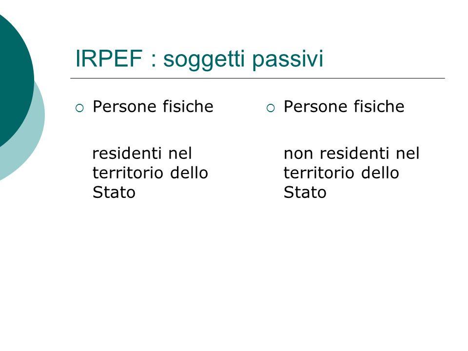 IRPEF : soggetti passivi  Persone fisiche residenti nel territorio dello Stato  Persone fisiche non residenti nel territorio dello Stato