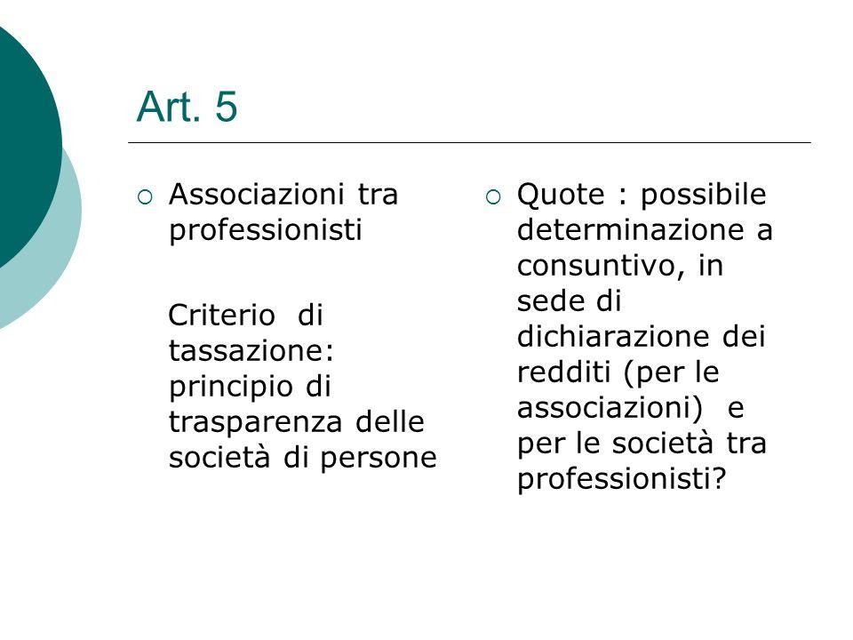Art. 5  Associazioni tra professionisti Criterio di tassazione: principio di trasparenza delle società di persone  Quote : possibile determinazione
